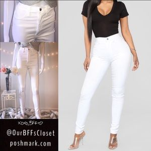 White fashion nova high waisted skinny jeans